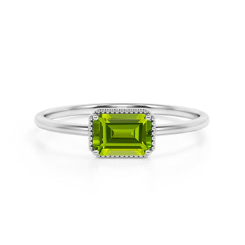Horizontal 1.75 Carat Emerald Cut Peridot and Modern Solitaire Engagement Ring in White Gold