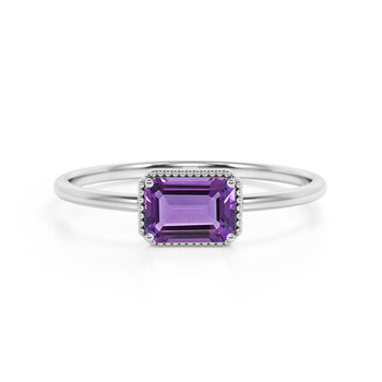 Horizontal 1.75 Carat Emerald Cut Amethyst and Modern Solitaire Engagement Ring in White Gold