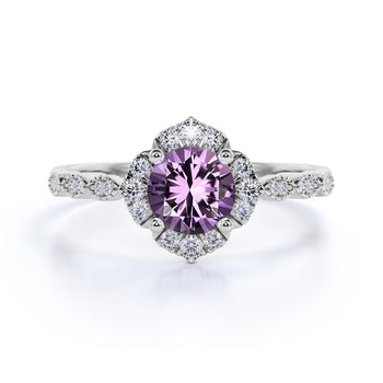 Bestselling 1.75 Carat Round Cape Amethyst and Diamond Antique Art Deco Engagement Ring in White Gold