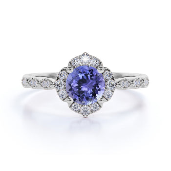 Bestselling 1.75 Carat Round Purple Tanzanite and Diamond Antique Art Deco Engagement Ring in White Gold