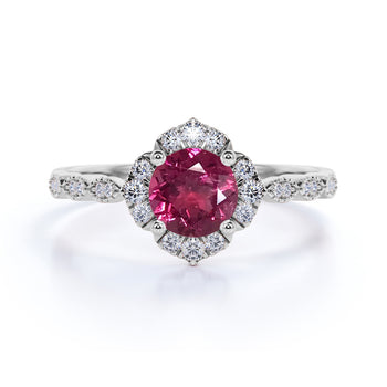 Bestselling 1.75 Carat Round Raspberry Tourmaline and Diamond Antique Art Deco Engagement Ring in White Gold