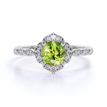 Bestselling 1.75 Carat Round Olivine Peridot and Diamond Antique Art Deco Engagement Ring in White Gold