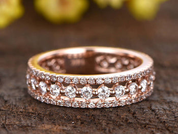 .50 Carat Round cut Diamond Wedding Ring Band in Rose Gold
