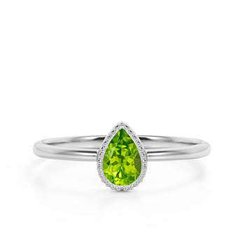 Gypsy Set 1 Carat Teardrop Cut Peridot and Vintage Milgrain Engagement Ring in White Gold
