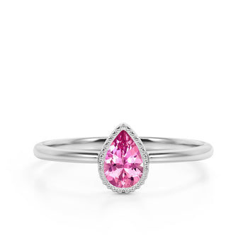 Gypsy Set 1 Carat Teardrop Salmon Tourmaline and Vintage Milgrain Engagement Ring in White Gold