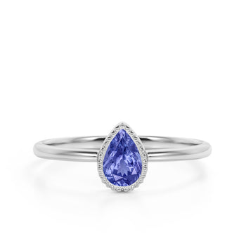 Gypsy Set 1 Carat Teardrop Cut Purple Tanzanite and Vintage Milgrain Engagement Ring in White Gold