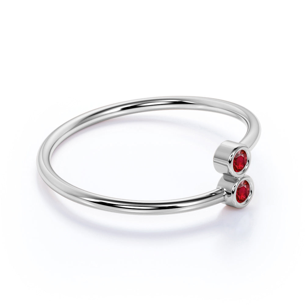 Lovely Duo Round Cut Ruby and Petite Bezel Stackable Ring Band in White Gold