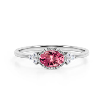 Unique East West 1.40 Carat Oval Dark Cherry Tourmaline and 7 Stone Diamond Engagement Ring in White Gold