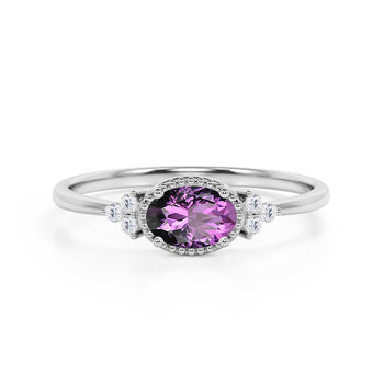 Unique East West 1.40 Carat Oval Cut Amethyst and 7 Stone Diamond Engagement Ring in White Gold