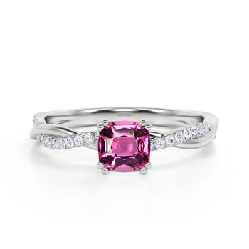 Infinity 1.25 Carat Cushion Red Rubellite Tourmaline and Diamond Twisted Engagement Ring in White Gold