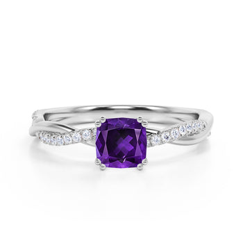 Infinity 1.25 Carat Cushion Amethyst and Diamond Twisted Engagement Ring in White Gold