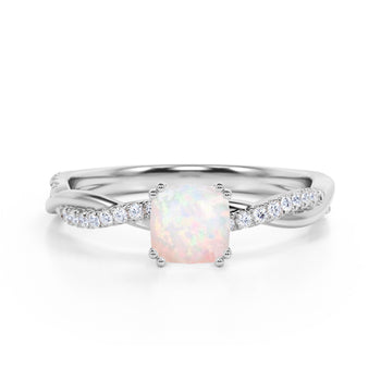 Infinity 1.25 Carat Cushion White Opal and Diamond Twisted Engagement Ring in White Gold