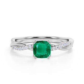 Infinity 1.25 Carat Cushion Emerald and Diamond Twisted Engagement Ring in White Gold