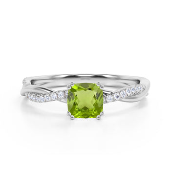 Infinity 1.25 Carat Cushion Peridot and Diamond Twisted Engagement Ring in White Gold