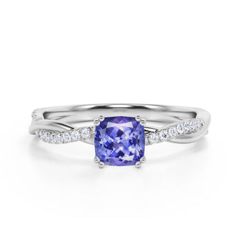Infinity 1.25 Carat Cushion Violet Tanzanite and Diamond Twisted Engagement Ring in White Gold