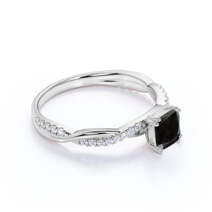 Infinity 1.25 Carat Cushion Black Diamond and Vintage Twisted Engagement Ring in White Gold