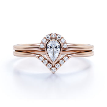 Bezel 0.58 Carat Almond Shape Diamond and Contour Wedding Set in Rose Gold