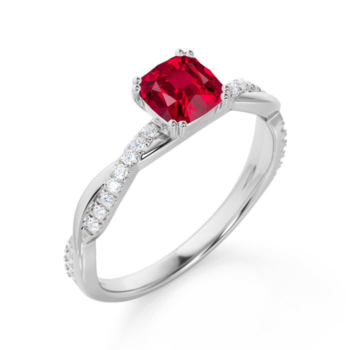 Infinity 1.25 Carat Cushion Ruby and Diamond Twisted Engagement Ring in White Gold