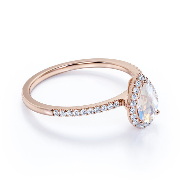 Pave 1.75 Carat Pear Cut White Blue Moonstone and Diamond Vintage Engagement Ring in Rose Gold