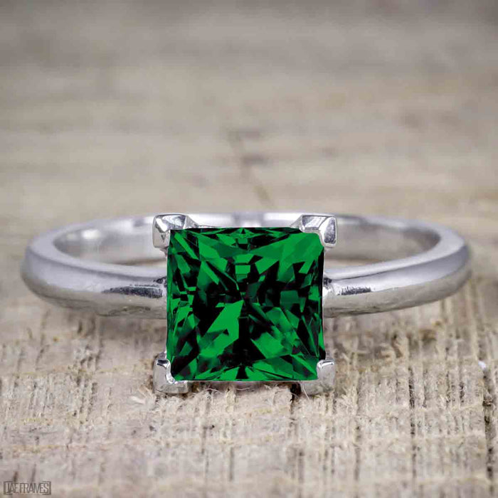 1.25 Carat Princess cut Emerald and Diamond Wedding Ring Set in White Gold