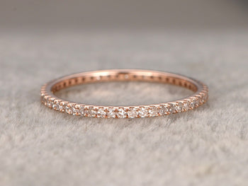 Perfect .50 Carat Round cut Diamond Eternity Wedding Ring Band in Rose Gold
