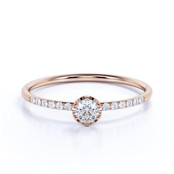 Antique Style European Round Cut Authentic Diamond and Minimalist Promise Ring in Rose Gold