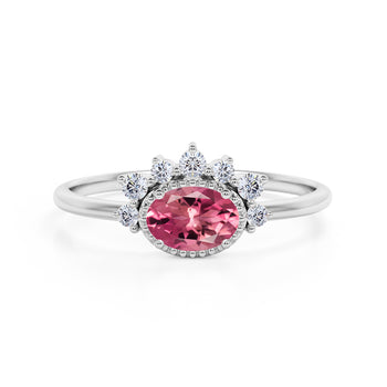 Shared Prong 2 Carat Oval Shape Red Burmese Tourmaline and Diamond Halo Snowflake Engagement Ring in White Gold