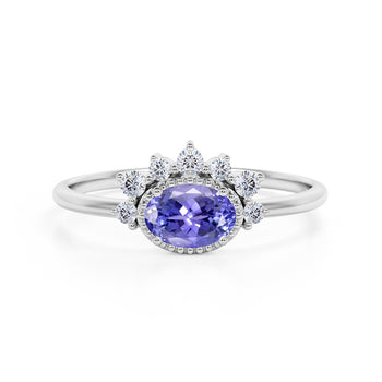 Shared Prong 2 Carat Oval Shape Blue Violet Tanzanite and Diamond Halo Snowflake Engagement Ring in White Gold