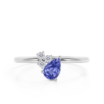 Asymmetrical 1.65 Carat Pear Shape Purple Tanzanite and Diamond Classic Engagement Ring in White Gold