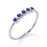 5 Stone Round Deep Blue Sapphire and Antique Style Stackable Ring Band in White Gold