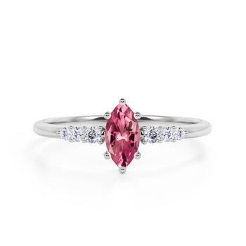 Pave 1.75 Carat Marquise Cut Red Rose Tourmaline and Diamond 6 Prong Engagement Ring in White Gold