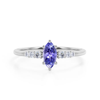 Pave 1.75 Carat Marquise Cut Lavender Tanzanite and Diamond 6 Prong Engagement Ring in White Gold