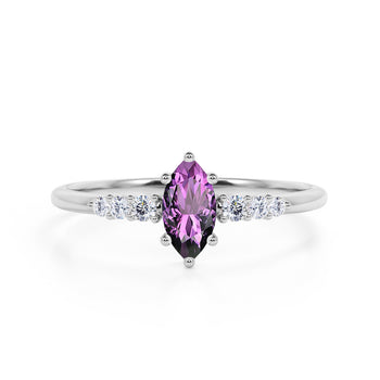 Pave 1.75 Carat Marquise Cut Amethyst and Diamond 6 Prong Engagement Ring in White Gold
