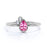 Minimalist 0.60 Carat Pear Shaped Pink Tourmaline and 3 Stone Diamond Vintage Engagement Ring in White Gold