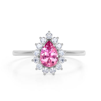 Snowflake Style 2 Carat Teardrop Shape Cranberry Tourmaline and Diamond Cluster Engagement Ring in White Gold