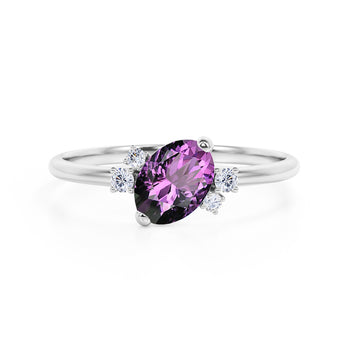 Unique 1.85 Carat Oval Cut Amethyst and Diamond Asymmetrical Engagement Ring in White Gold