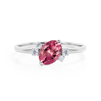 Unique 1.85 Carat Oval Cut Red Rubellite Tourmaline and Diamond Asymmetrical Engagement Ring in White Gold