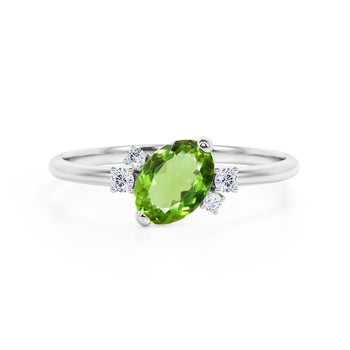 Unique 1.85 Carat Oval Cut Peridot and Diamond Asymmetrical Engagement Ring in White Gold