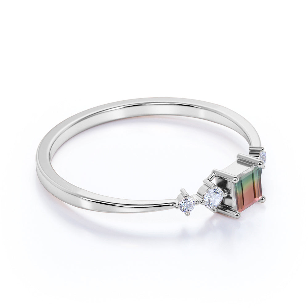 Bestselling 0.49 Carat Princess Cut Watermelon Tourmaline and Diamond Petite Engagement Ring in White Gold