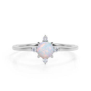 Limited Time Sale 1.45 Carat Round Cut Ethiopian Opal and 5 Stone Diamond Vintage Engagement Ring in White Gold