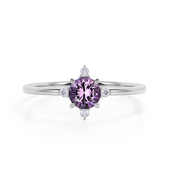 Limited Time Sale 1.45 Carat Round Cut Amethyst and 5 Stone Diamond Vintage Engagement Ring in White Gold