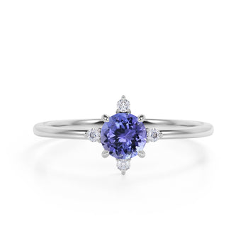 Limited Time Sale 1.45 Carat Round Cut Violet Tanzanite and 5 Stone Diamond Vintage Engagement Ring in White Gold