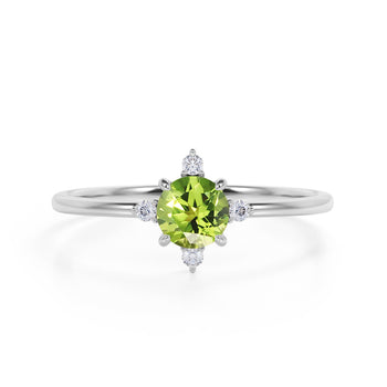 Limited Time Sale 1.45 Carat Round Cut Peridot and 5 Stone Diamond Vintage Engagement Ring in White Gold