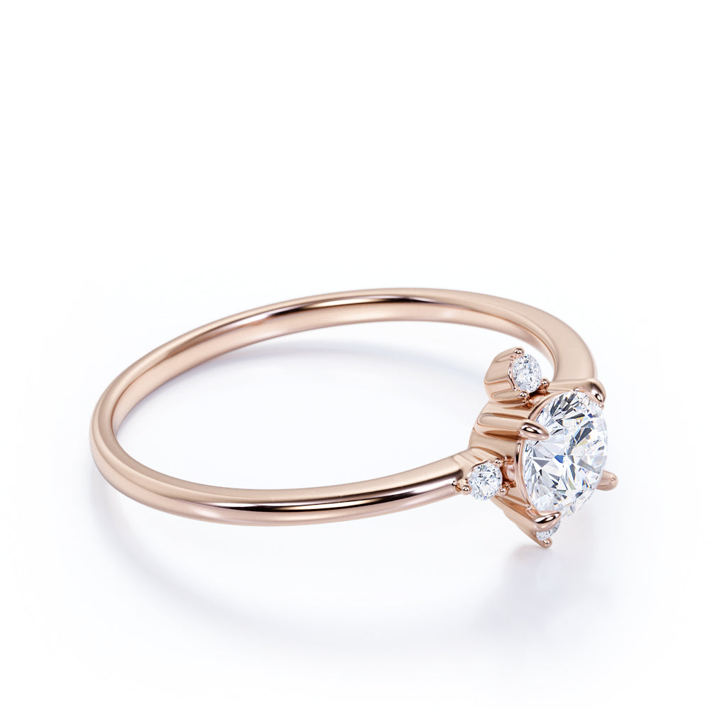 Limited Time Sale 0.34 ct TDW Round Cut Diamond and 5 Stone Vintage Engagement Ring in Rose Gold