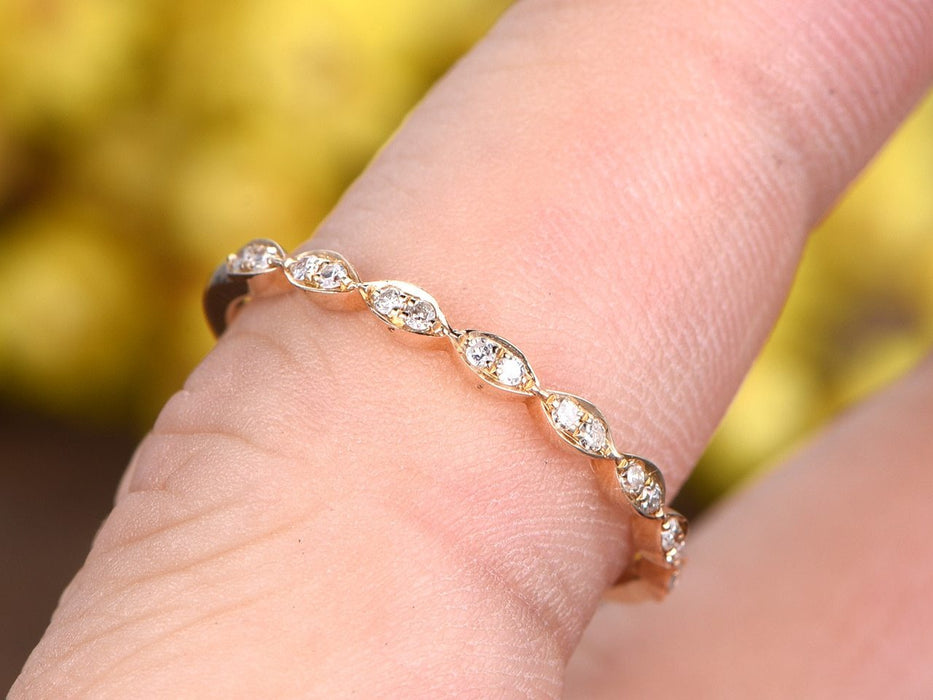 Perfect .25 Carat Round cut Diamond semi Eternity Wedding Ring Band in Yellow Gold
