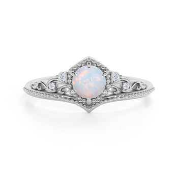 1.25 Carat Round White Opal and Diamond Ring in White Gold - Vintage Opal Ring - Art Deco Ring