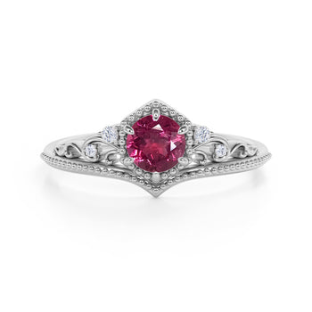 Artisan 1.75 Carat Brilliant Round Red Rose Tourmaline and Diamond Classic Art Deco Engagement Ring in White Gold