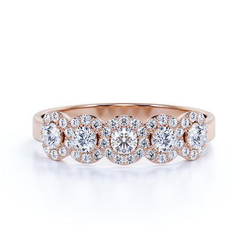 Pave European Round Cut Authentic Diamond Halo and Vintage Stacking Ring in Rose Gold