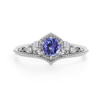 Artisan 1.75 Carat Brilliant Round Violet Tanzanite and Diamond Classic Art Deco Engagement Ring in White Gold