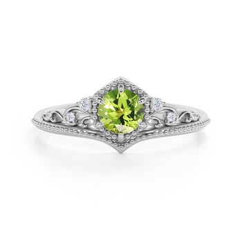 Artisan 1.75 Carat Brilliant Round Peridot and Diamond Classic Art Deco Engagement Ring in White Gold